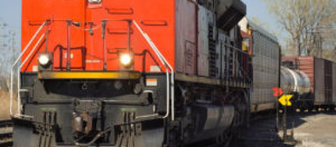 CN red freight train from Detroit Tunnel to Chicago